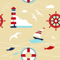 Sea seamless pattern with nautical elements Stock Images