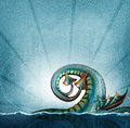 Sea serpent tail a with wings breaches a wave from the ocean depths Royalty Free Stock Photos