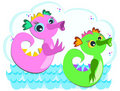 Sea Serpents Swimming Stock Photo