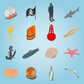 Sea set icons, isometric 3d style