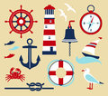 Sea set nautical elements in cartoon style Stock Photo