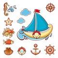 Sea set. Sea and nautical decorations.