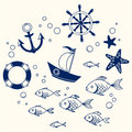 Sea set vector illustration of and marine Stock Photo