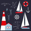 Sea set with yacht and lighthouse. Vector illustration
