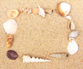 Sea Shell frame on sand Royalty Free Stock Photo