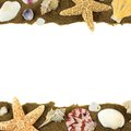 Sea shell frame and sand double border on a white background Royalty Free Stock Image