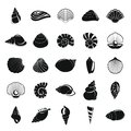 Sea shell icons set, simple style Royalty Free Stock Photo