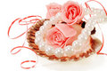 Sea shell with pearls and a rose Royalty Free Stock Photo