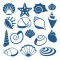 Sea shell vector silhouette icons Royalty Free Stock Photo