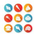 Sea shells flat design long shadow glyph icons set Royalty Free Stock Photo