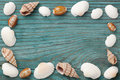 Sea shells forming edge frame on the blue wooden board, top view Royalty Free Stock Photo