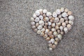 Sea shells heart on sandy beach background summer composition with copy space top view Stock Photos