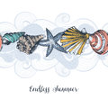 Sea shells pattern Royalty Free Stock Photo