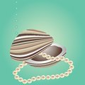 Sea shells and pearls. Royalty Free Stock Photography