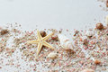 Sea shells and pink sand with a starfish on a paper background with empty space for text Royalty Free Stock Photo