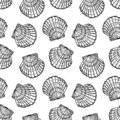 Sea shells seamless vector pattern Royalty Free Stock Photo