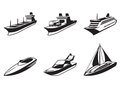 Sea ships and boats in perspective Royalty Free Stock Photo