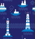 Sea, ships, lighthouses, seagulls, clouds, sun