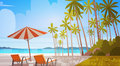 Sea Shore Beach With Deck Chairs Beautiful Seaside Landscape Summer Vacation Concept