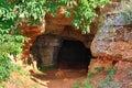 Sea shore cave entrance Royalty Free Stock Photo