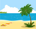 Sea shore with palm tree vector illustration of the Stock Photography