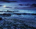 Sea shore with stones after the storm at night Royalty Free Stock Photo