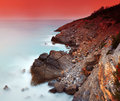 Sea shore stony long exposure mediterranean Royalty Free Stock Photos