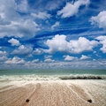 Sea sky white clouds beautiful seascape blue and waves Royalty Free Stock Image
