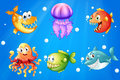 A sea with smiling creatures illustration of Stock Photo