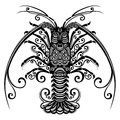 Sea spiny lobster vector patterned design Royalty Free Stock Photo