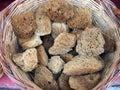 Sea sponges athens large in cane basket central market precinct greece Stock Photography