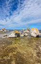 Sea stacks on the east coast of sweden raukar fårö island in gotland these limestone formations are caused by natural erosion Stock Photos