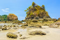 Sea stacks at manuel antonio national park in costa rica Royalty Free Stock Photo