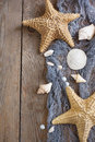 Sea stars and sea shells as background Royalty Free Stock Photo