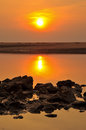 Sea stones and sunset Royalty Free Stock Image