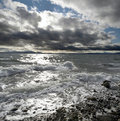 Sea and stormy clouds Stock Photography