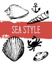 Sea Style Shell Anchor Crab Red Vector Illustration