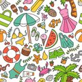 Sea and summer. Seamless pattern in doodle and cartoon style. Color.