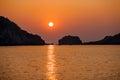 Sea Sunset, Halong Bay, Vietnam Royalty Free Stock Photo