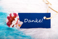 Sea tag with danke the german word which means thanks Royalty Free Stock Image