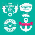 Sea theme labels logo design elements Royalty Free Stock Image