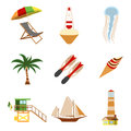 Sea and Tourism flat icon set. Cartoon Vector illustration