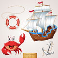 Sea travel icons set cute character and objects collection vector illustration Royalty Free Stock Photos