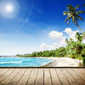 Sea tropical beach with palm trees beautifull nature background Stock Photo