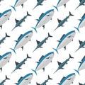 Sea tuna fish animal nature food seamless pattern ecology shark environment tropical natural thunnus vector illustration Royalty Free Stock Photo