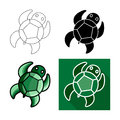Sea turtle icon, Vector flat long shadow design.Lines turtle.Black turtle. Green turtle