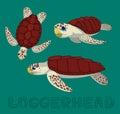 Sea Turtle Loggerhead Cartoon Vector Illustration