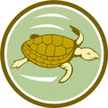 Sea turtle swimming circle cartoon illustration of a marine viewed from the side set inside on isolated background done in style Royalty Free Stock Images