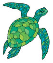 Sea turtle - vector stylized drawing Royalty Free Stock Photo