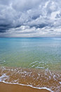 The sea under the clouds beautiful colors of a cloudy sky in springtime Stock Photo